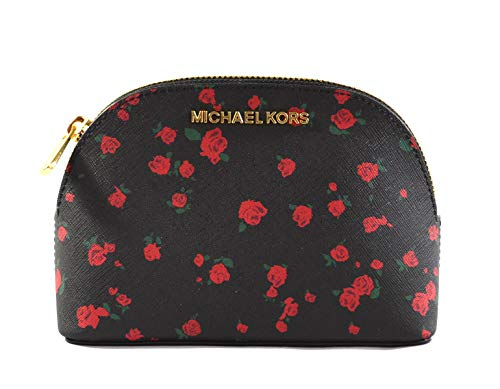 (Michael Kors Jet Set Travel Women's Large Travel Pouch Cosmetic Case with Rose Print, Black Red)