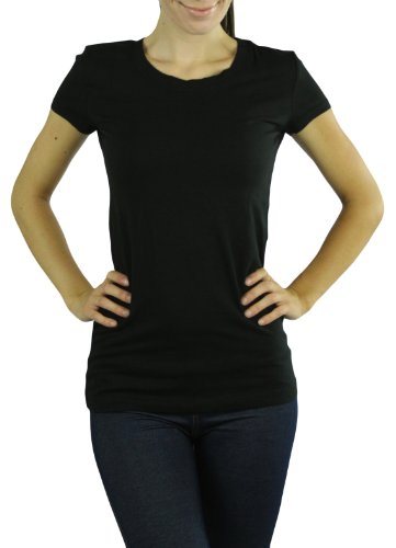 ToBeInStyle Women's Knit Shortsleeve Crewneck T-Shirt - Small - Black