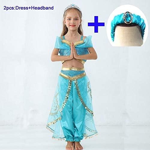 WSJDE Niñas Jasmine Dress Up Niños Halloween Navidad Princesa ...
