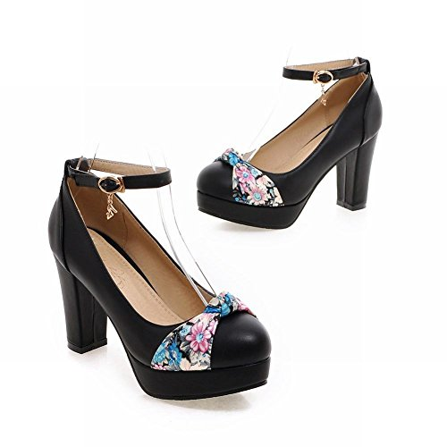 Latasa Womens Cute Floral Bow Platform Chunky High Heel Ankle Strap Pumps Black FlzaZI