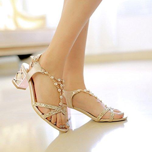Damen Absatz 5cm Blockabsatz Schuhe Sandalen Tomatoa