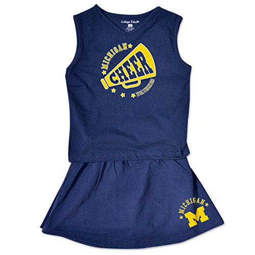 College Kids NCAA Michigan Wolverines Toddler Girl Cheer Set, 3 Toddler, Navy