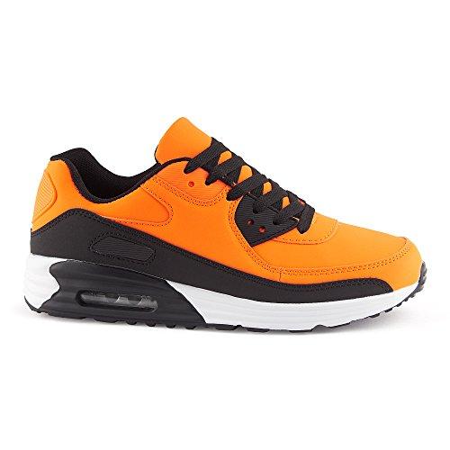 FiveSix Herren Damen Sneaker Sportschuhe Schnür Lauf Freizeit Fitness Dämpfung Low Top Unisex Schuhe Orange/Schwarz-M