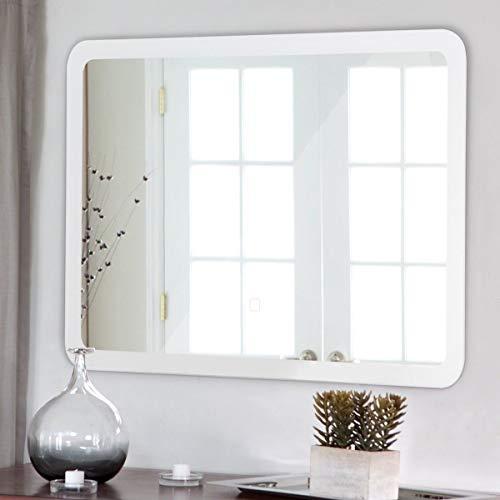 Moon_Daughter Bathroom LED White Wall-Mounted Vanity Makeup Illuminated Arc Corner Mirror Decor -