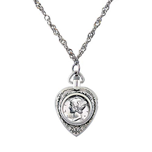 American Coin Treasures Heart Watch Coin Pendant Necklace with Silver Mercury Dime Coin for Collectors | Silvertone 30-inch Rope Chain for Women | Lobster Claw Clasp | Elegant Gift Box Included