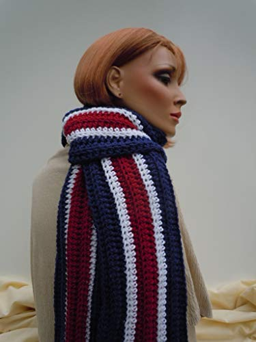 Patriotic colors scarf, France flag colors scarf, Sports Team Scarf, Blue Red White Scarf, Team Spirit Scarf, School Team Scarf