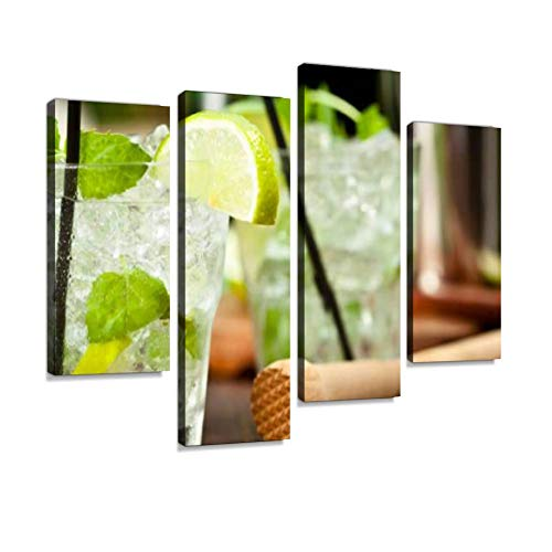 Mojito with White Rum, Lime, Mint and Crushed Ice Canvas Wall Art Hanging Paintings Modern Artwork Abstract Picture Prints Home Decoration Gift Unique Designed Framed 4 Panel