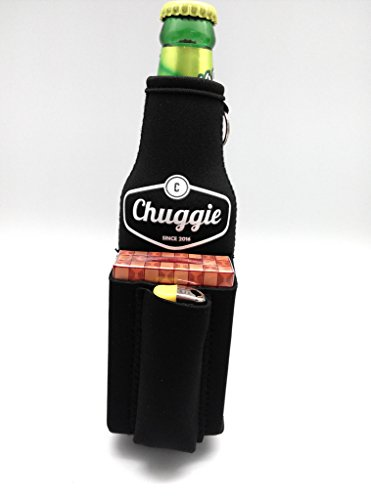 Bottle Chuggie With Cigarette And Lighter Holder Black (How To Make A Cigarette Holder)