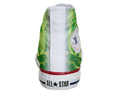 mys Converse All Star Customized - Zapatos Personalizados (Producto Artesano) Dragón Verde, Fondo Amarillo