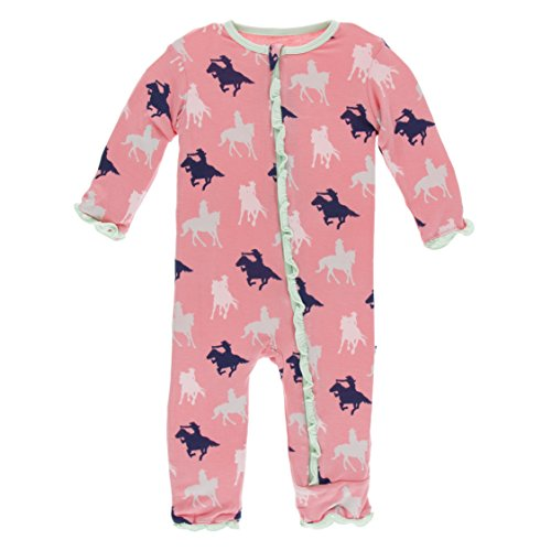 Kickee Pants Little Girls Print Muffin Ruffle Coverall With Zipper - Strawberry Cowgirl, 6-9 Months