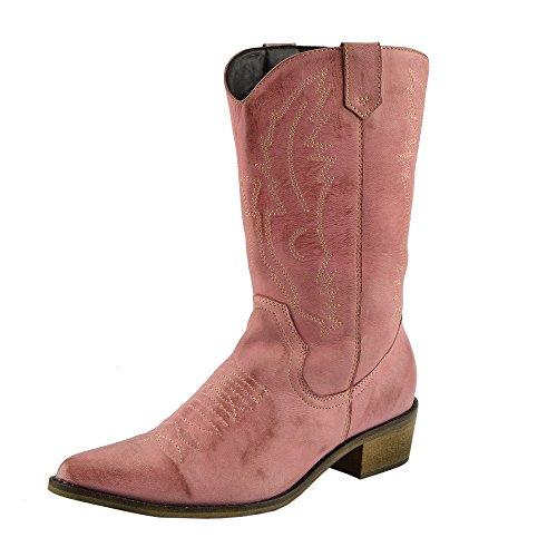 da Rosa Polpaccio Pelle Cowboy Occidentali Donna Ampia in Punta Stivali Stivali Ladies del qIwOqAx7v