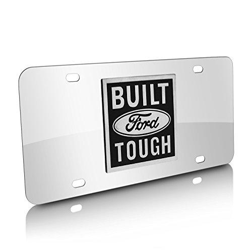 Ford Built Tough Logo On Chrome Polished License (Built Ford Tough Logo)