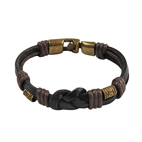 Jane Stone Men's Genuine Leather Bracelet Bangle Rope Black Braided Biker Tribal Vintage Handmade Wristband(B0388)