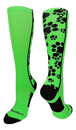 MadSportsStuff Crazy Socks with Paws Over The Calf (Neon Green/Black, Small)