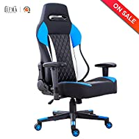 LCH High-Back Gaming Office Chair Ergonomic Racing Style Executive Computer Chair PU Leather with Headrest and Lumbar Support, Blue