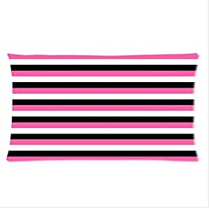 Best Custom Pillowcase - White,Black and Pink Stripe Pillowcase,One Side Pillowcase Pillow Cover 20x30 inches