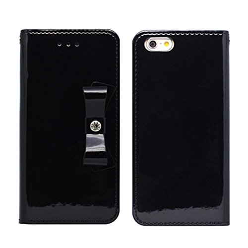 iPhone 6 6S Case,HANSMARE [ELBA][Black]Patent Leather Case Patent Lather Cover Protective Case [Slim Fit] - Retail Packaging -For Apple iPhone 6 6S 4.7 -Black (Patent Ribbon)