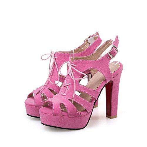 Zapatos de Mujer Primavera y Verano Zapatos de tacón Sandalias de Tubo Corto Tacón Crudo Súper tacón de Plataforma Impermeable Sandalias de Hebilla Sandalias (Color : Rosado, tamaño : 40)