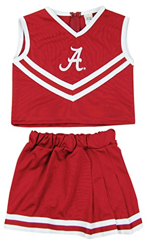 Little King NCAA Alabama Crimson Tide Girls Cheerleader Two Piece Costume Set, Crimson, 6 -