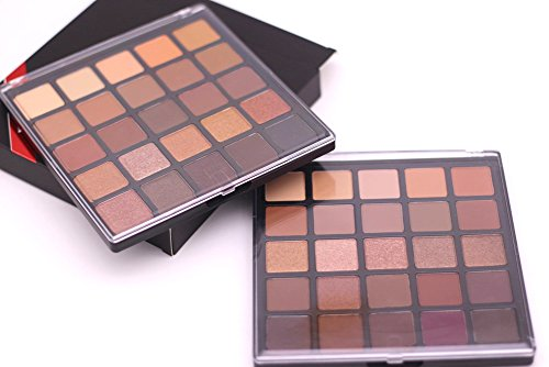 Matte and Shimmer Eyeshadow Palette, Vodisa 25 Smoky Warm Color Eye Shadows Glitter Makeup Kit Make Up Brushes Set Nature Nude Earth Tone Waterproof Beauty Cosmetics High Pigment Powder Pallet 25B