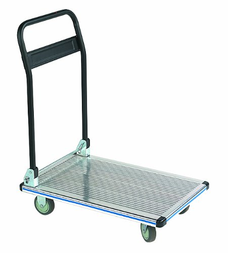 Wesco 272112 Aluminum Platform Truck with Folding Handle, 550-lb. Load Capacity, 35-1/2