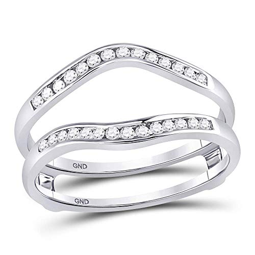 FB Jewels 14kt White Gold Womens Round Diamond Ring Guard Wrap Solitaire Enhancer 1/4 Cttw (I1-I2 clarity; H-I color) ()