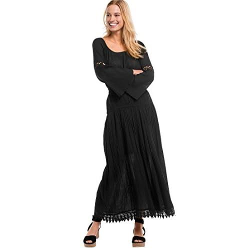Ellos Women's Plus Size Lace Trim Long Skirt hot sale
