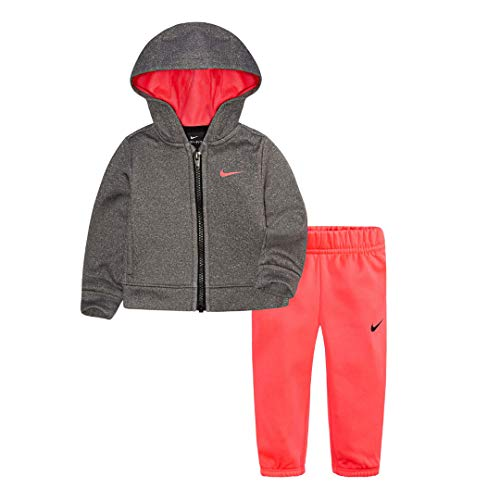 (Nike Little Girls` Therma-Fit Full Zip Hoodie & Jogging Pants 2 Piece Set (Racer Pink(26D729-A4F)/Heather Grey, 2T))