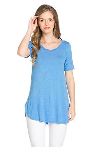 Frumos Womens Tunic Short Sleeve Top Blue Marine 3X-Large