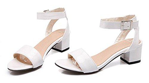 Aisun Womens Simple Buckled Open Teen Jurk Medium Chunky Heels Enkelband Sandalen Shoes White