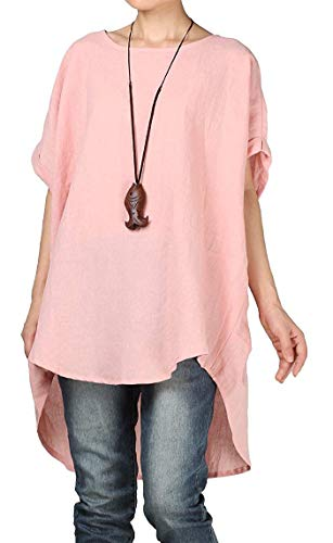 Mordenmiss Women's Summer Tee Shirt Oversized Top Hi-Low Tunic Style3 Pink M