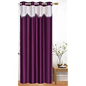 Honey Traders Polyresin Grommet Door Curtain, 7 Feet, Cream-wine, Pack of 1