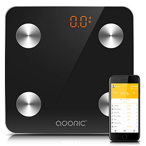 Adoric Bluetooth Body Fat Scale Smart Digital Scale with APP for Android and IOS, Tempered Glass Surface, Auto On/Off, Body Composition Monitor Measures Weight, Bone, Water, Muscle, Fat, BMI, BMR by Adoric