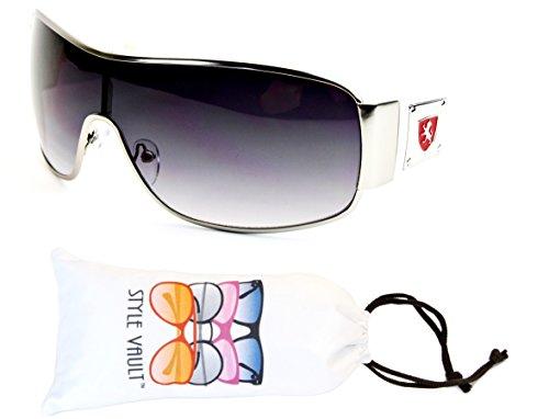 Logo Metal Aviator Shield Sunglasses (A182-vp Turbo Aviator Shield/Metal Sunglasses (P1530C Silver/White/Red Logo, uv400))