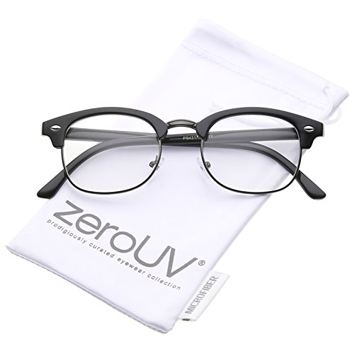 zeroUV - Retro Horn Rimmed Metal Nose Bridge Clear Lens Half Frame Eyeglasses 49mm (Black-Gunmetal / - Clubmaster Black