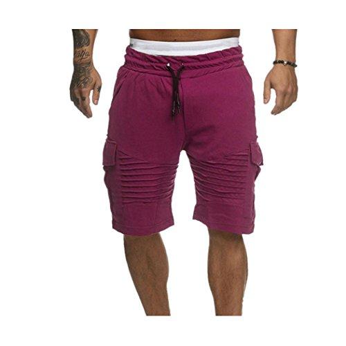Felpa Pantalone Uomo shorts Cotone Spiaggia Sport Per Estate Corti Pantaloncini Di Fitness Da Palestra In Cargo Bermuda Rosso Jogging E Tasca Con Byste Outdoor Coulisse dtCYqq
