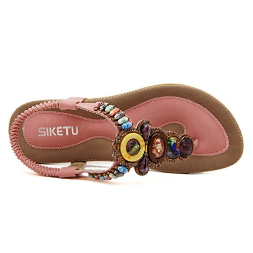 Flat New Pink Beads Summer Slingback Beach Sandals Thong Release PADGENE Strap Bohemian Women's Shoes T Coin wqRBCgw