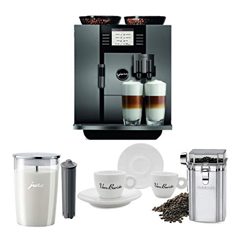 Jura 13623 Giga 5 Automatic Coffee Machine, Piano Black Includes Smart Filter, Milk Container, Coffee Canister and Set of Espresso Cups Bundle (Renewed) (5 Items)