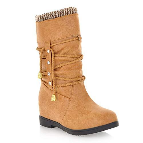 Tassel Winter Baumwoll Riemen Stiefel Women Damenstiefel Größe Fashion Boots KUKI Cross Es Nackte Große Stiefel Rutschfeste Tube Stiefel Winter Stiefel High Yellow Baumwoll Lässige Boots q4PUnCYx