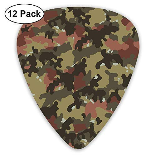 12-Pack Fashion Classic Electric Guitar Picks Plectrums Camouflage Texture Instrument Standard Bass Guitarist