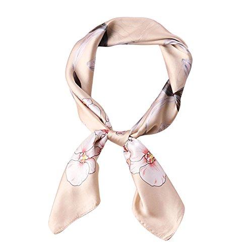 Womens Cute Floral Square Neck Scarf Silk Like Headdress Small 27.5inch (Square Neck Silk Dress)