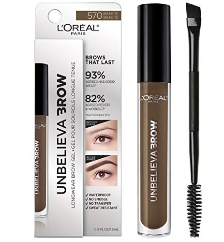 (L'Oreal Paris Unbelieva-Brow Tinted Brow Makeup, Longwear, Waterproof Brow Gel, Sweat Resistant, Transfer Proof, Fills and Thickens Brows, Enhanced up to 48 Hours, Brunette, 0.15 fl. oz.)