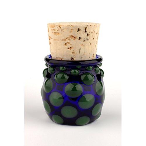 Blown Glass Small Polka Dot Jar - Green/Blue (Glass Blown Jar Hand)