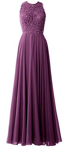 MACloth Elegant High Neck Long Prom Dress Lace Chiffon Formal Party Evening Gown Eggplant