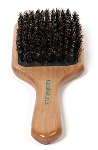 GranNaturals Boar Bristle Hair Brush for Women and Men - Natural Wooden Large Flat Square Paddle Hairbrush - For Thick, Fine, Thin, Wavy, Straight, Long, or Short ()