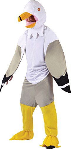 Big Head Animal Costume Uk (Men's Animal Seaside Mascot Fancy Dress Complete Outfit Seagull Big Head Costume)