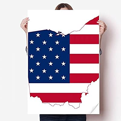 DIYthinker Ohio USA Map Stars Stripes Flag Shape Vinyl Wall Sticker Poster Mural Wallpaper Room Decal 80X55cm