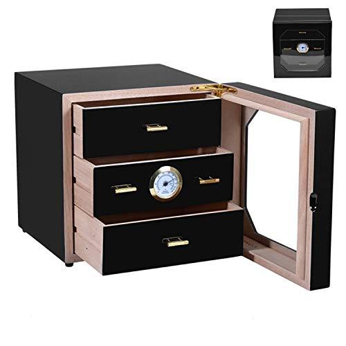- Cedar Wooden Humidor,Cigar Humidor,75-100 Cigar Humidor Box Black Gloss Piano Finish Cedar Cigar Cabinet 3 Partition (US Stock)