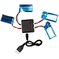Lipo Battery, Emubody 3.7V 720mAh 25C battery + 4-port Charger for Syma X5C X5A X5 Quadcopter