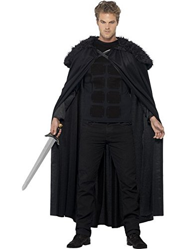 Smiffy's Men's Dark Barbarian Costume, Top and Cape, Tales of Old England, Serious Fun, Size M, 43721